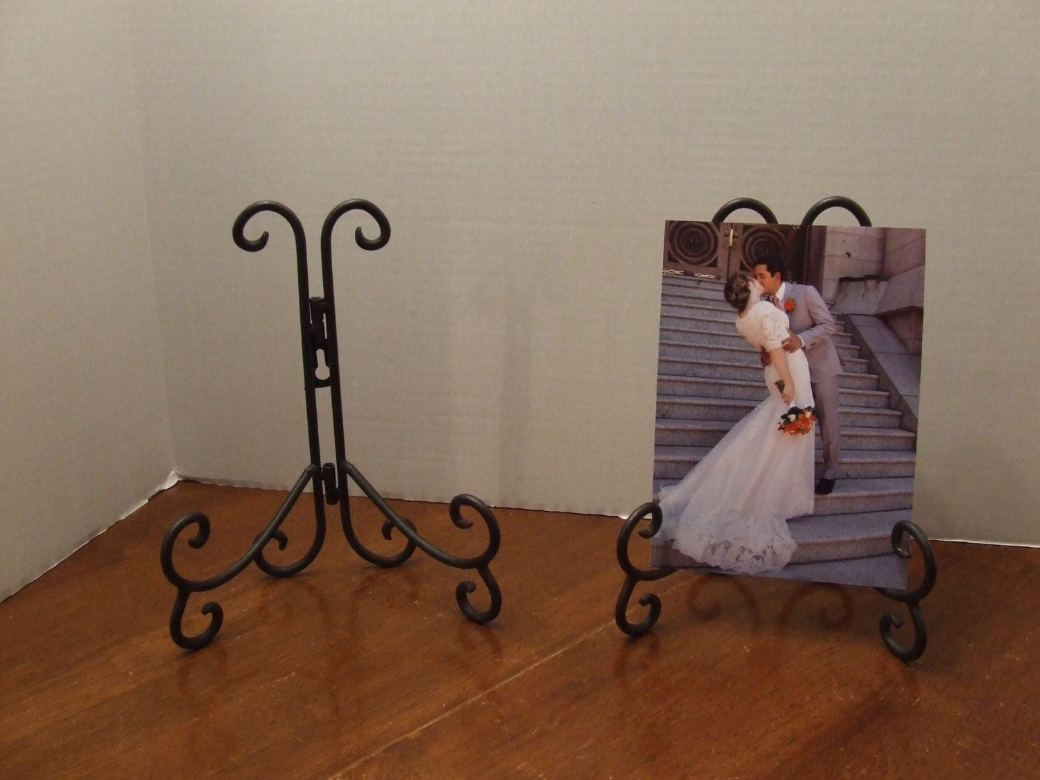Wall Plate Holder Picture Holder Metal Recipe Book Holder Letter Holder Wall Mount or Table Wall Plate Black Wrought Iron Hanger Gift & Wall Plate Holder Picture Holder Metal Recipe Book Holder Letter ...