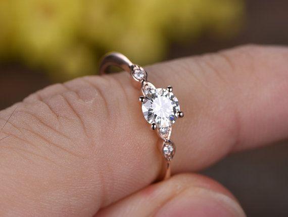 Charles Colvard Moissanite Engagement Ring Bridal Ring 14k Rose