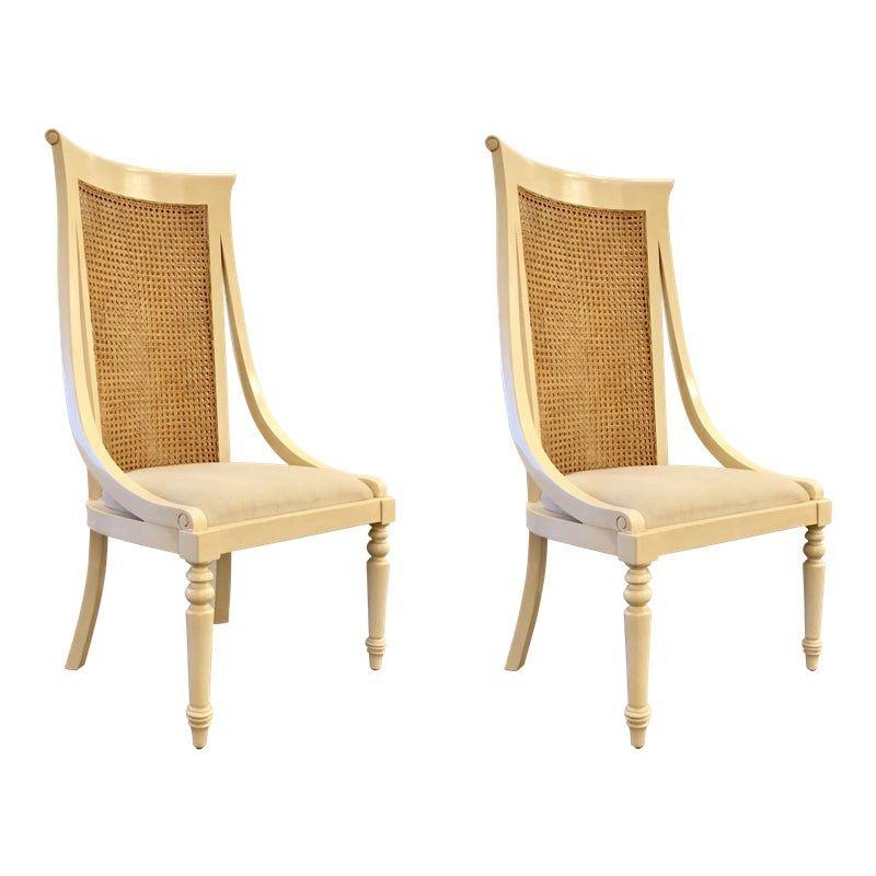 Cream Wood High Back Cane Chairs Pair