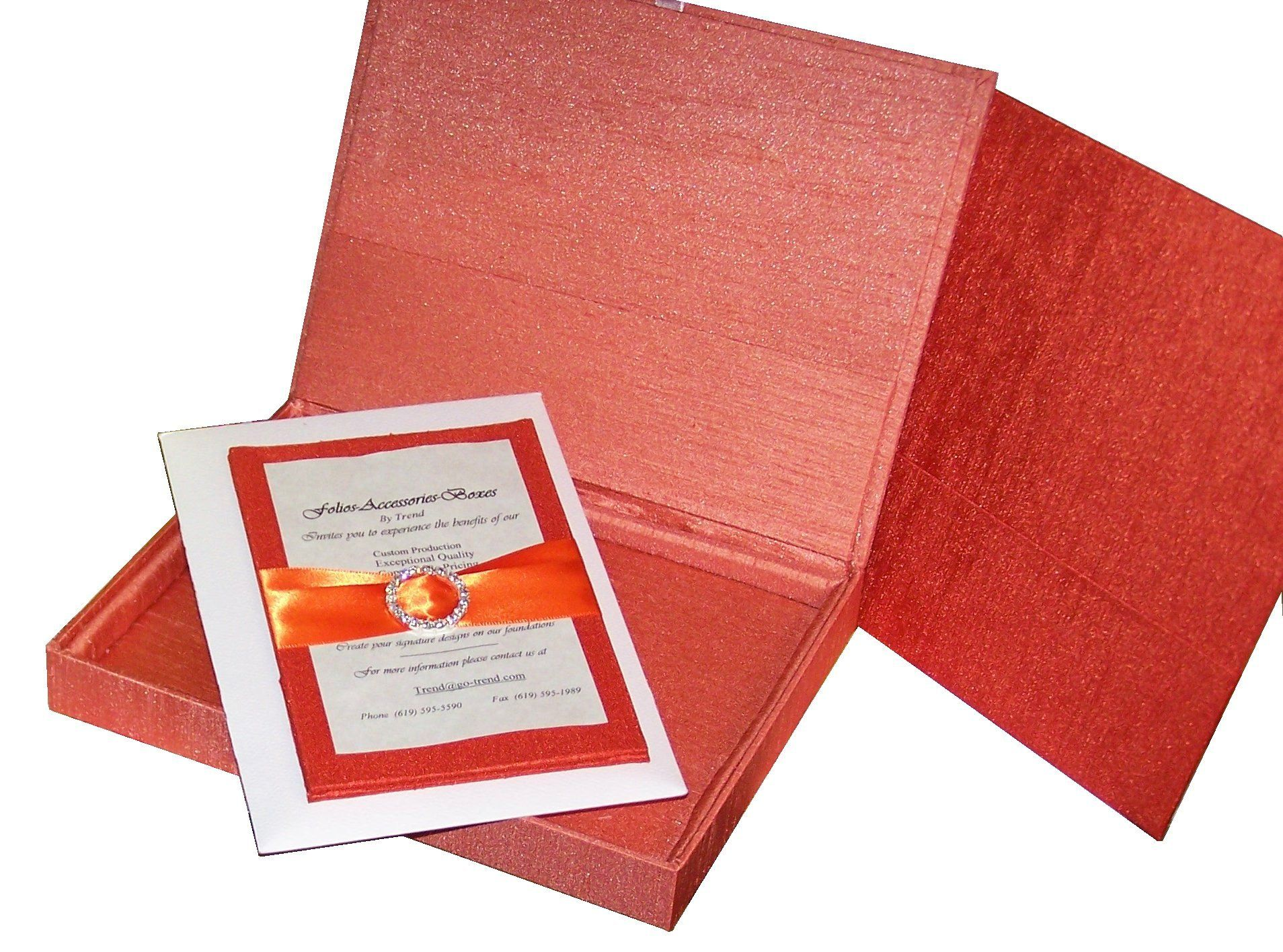 Coral Shantung invitation box by Trend Weddings & Events