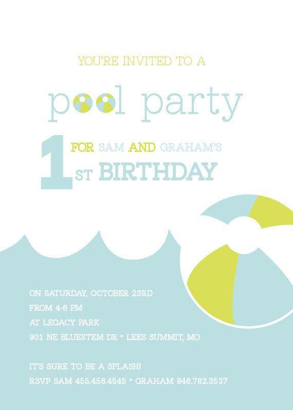 Custom Pool Party Birthday Invitation By Prettyinkdesigns On Etsy 1500