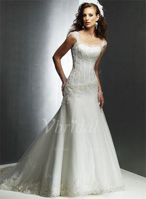 A-linjeformat Hjärtformad Court släp Organzapåse Satäng Bröllopsklänning med Rufsar Pärlbrodering Applikationer Spetsar (00205000109)