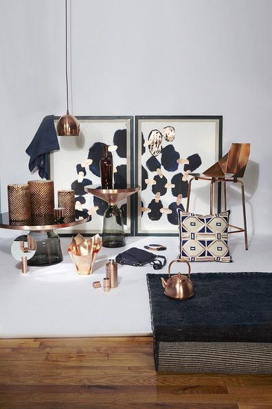 Copper And Navy Home Decor In A Copper And Navy Color Palette