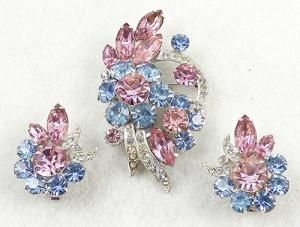Eisenberg Pink and Blue Rhinestone Brooch Set - Garden Party Collection Vintage Jewelry