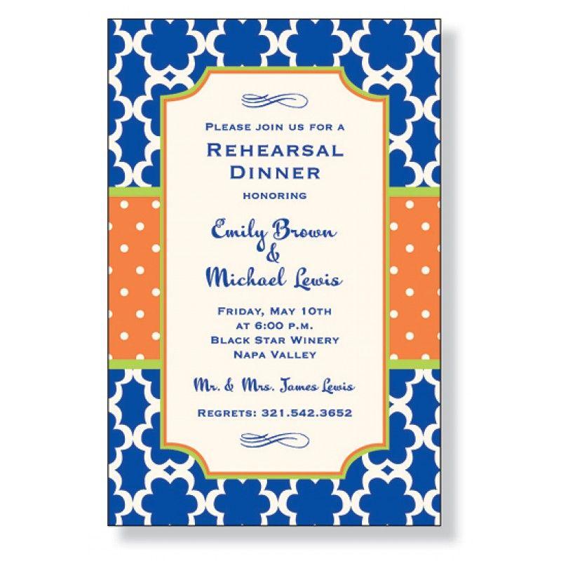 Blue & Orange Rehearsal Dinner Invitation