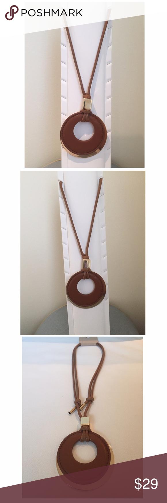 Large camel faux leather u gold pendant necklace boutique my posh
