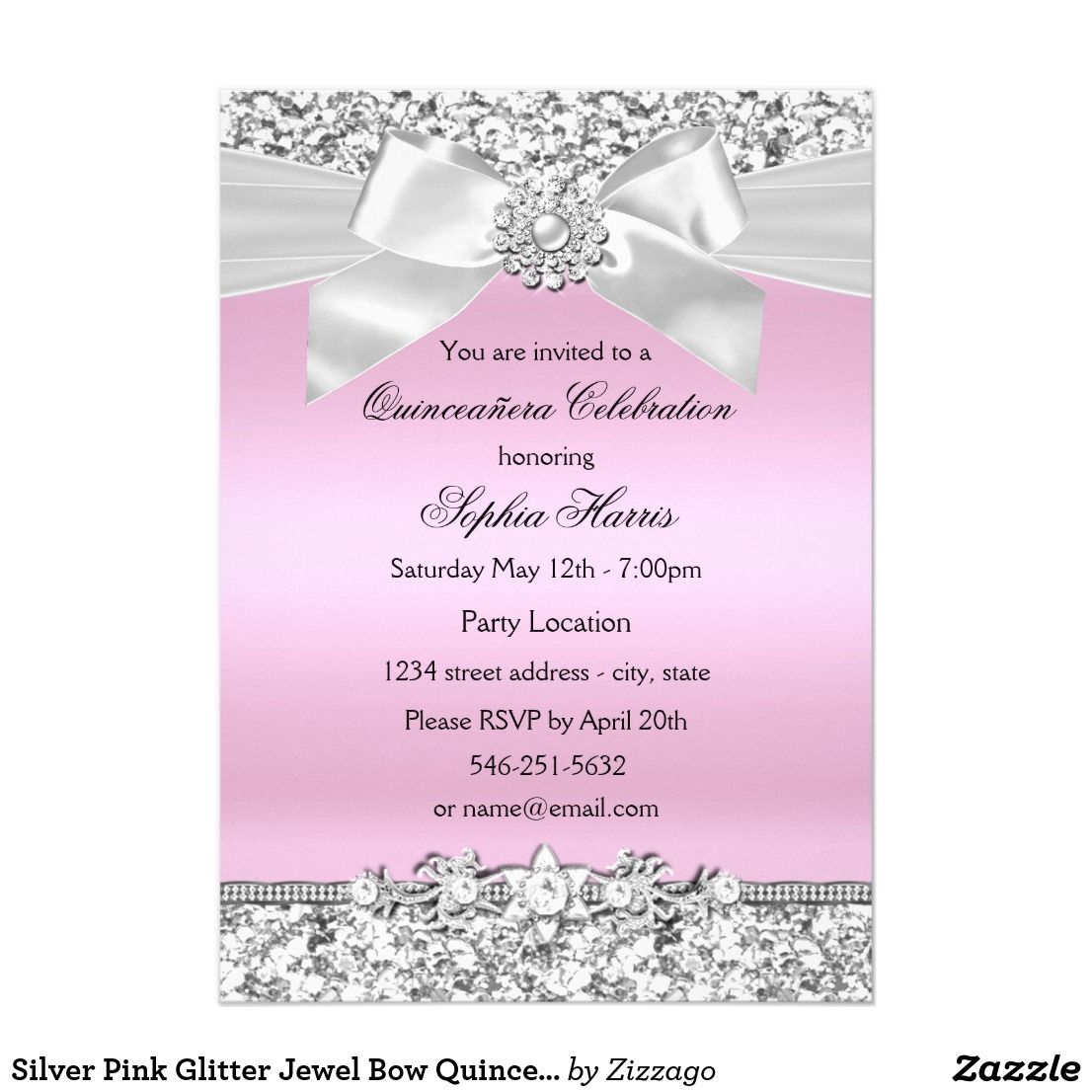 Silver pink glitter jewel bow quinceanera birthday card pink silver pink glitter jewel bow quinceanera birthday card bookmarktalkfo Gallery