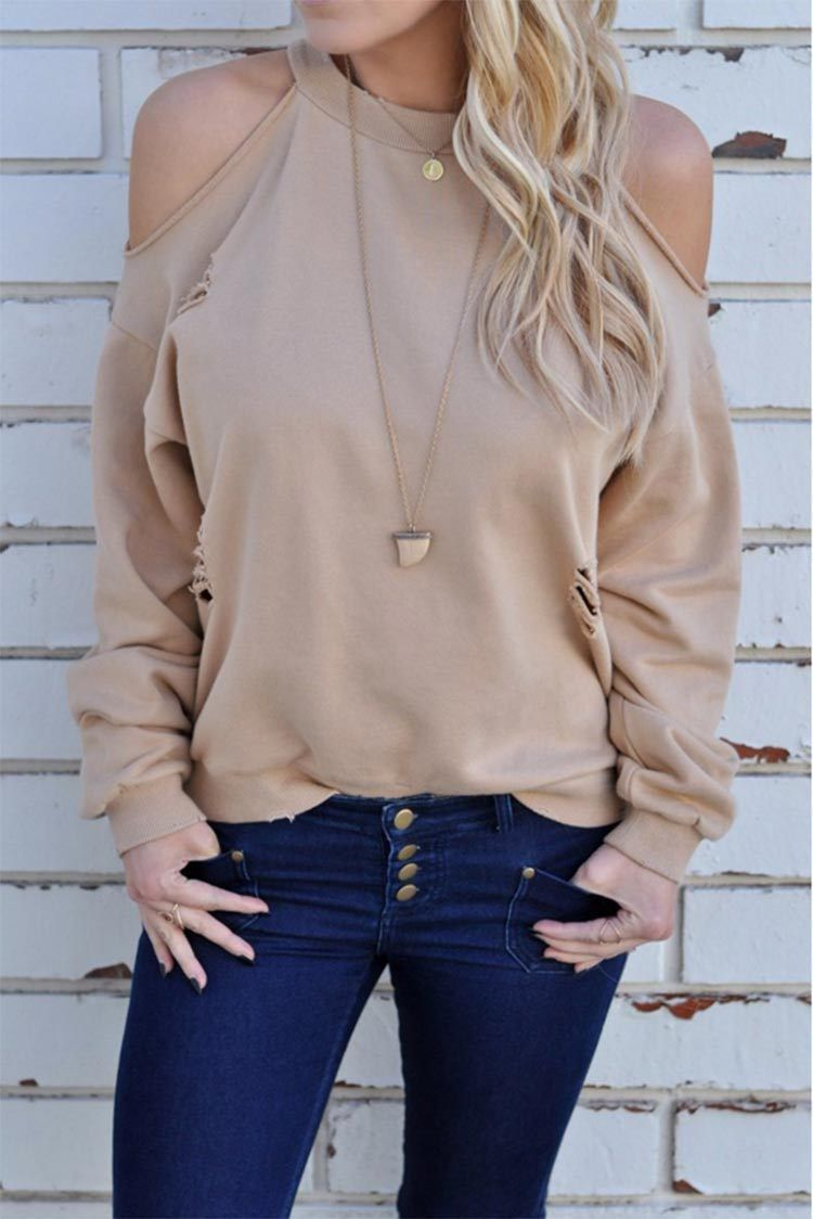 Casual long sleeves loose off the shoulder hole tshirts