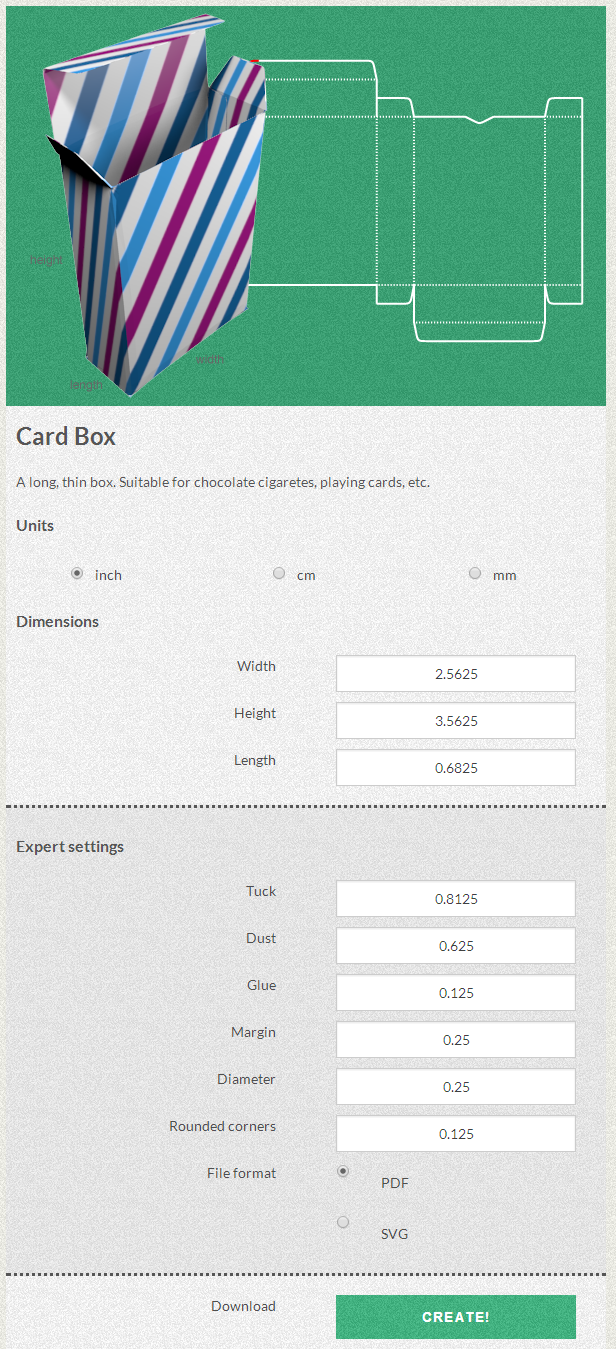 Free Template Maker Playing Card Box Templates Card Box