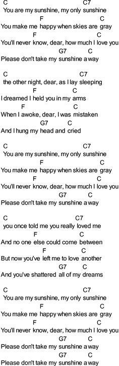 Bluegrass Songs With Chords You Are My Sunshine Uke Pinterest