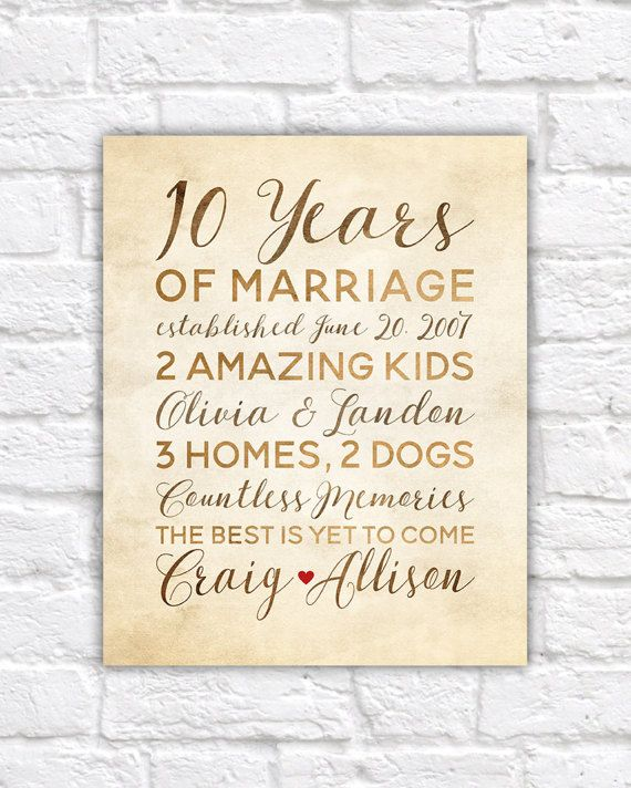 10 Year Anniversary Gift, Wedding Anniversary Decor, Rustic Art - best of corporate anniversary invitation quotes
