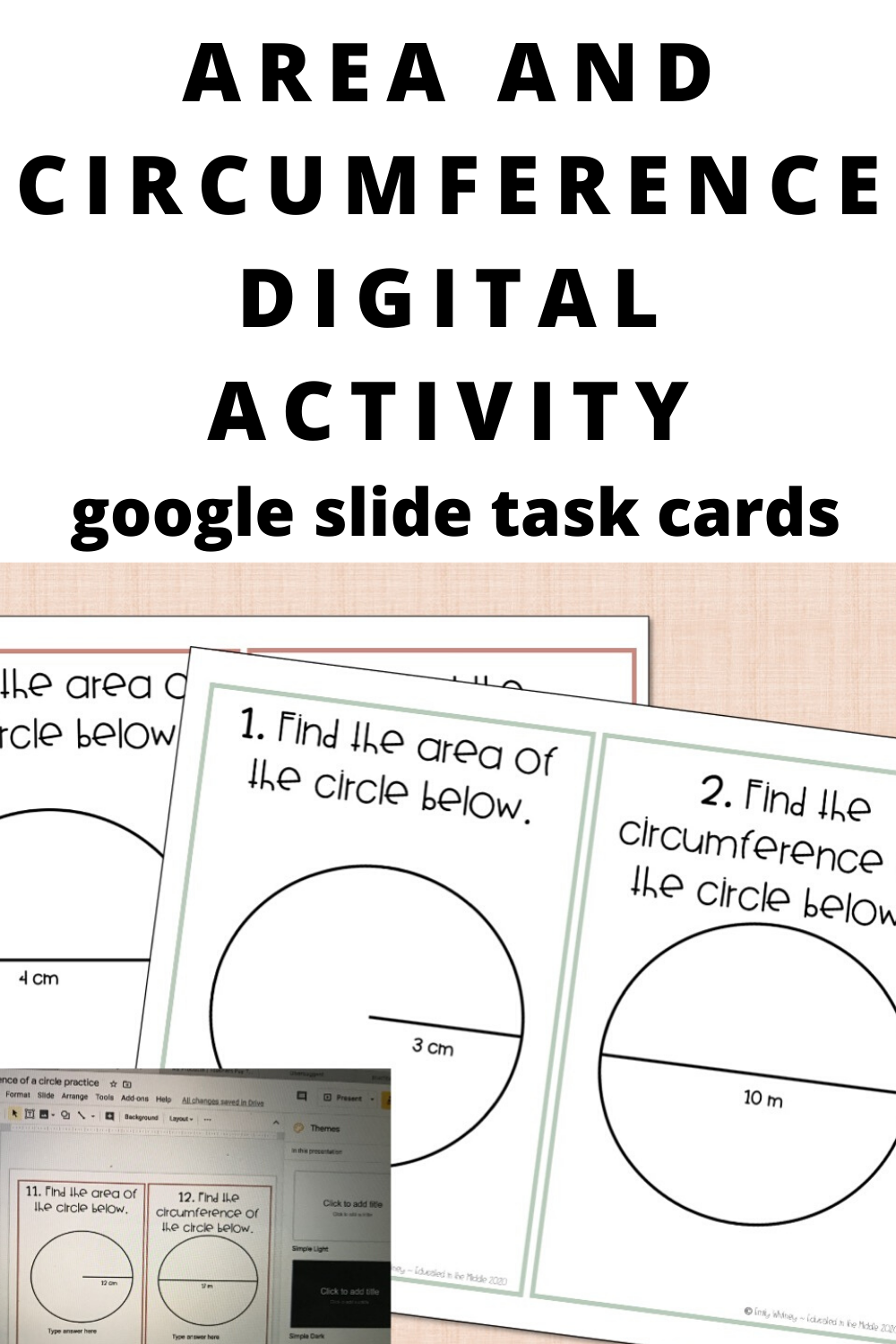 Area And Circumference Of A Circle Task Cards For Distance Learning In 2020 Google Classroom Middle School Google Classroom Digital Activities [ 1500 x 1000 Pixel ]