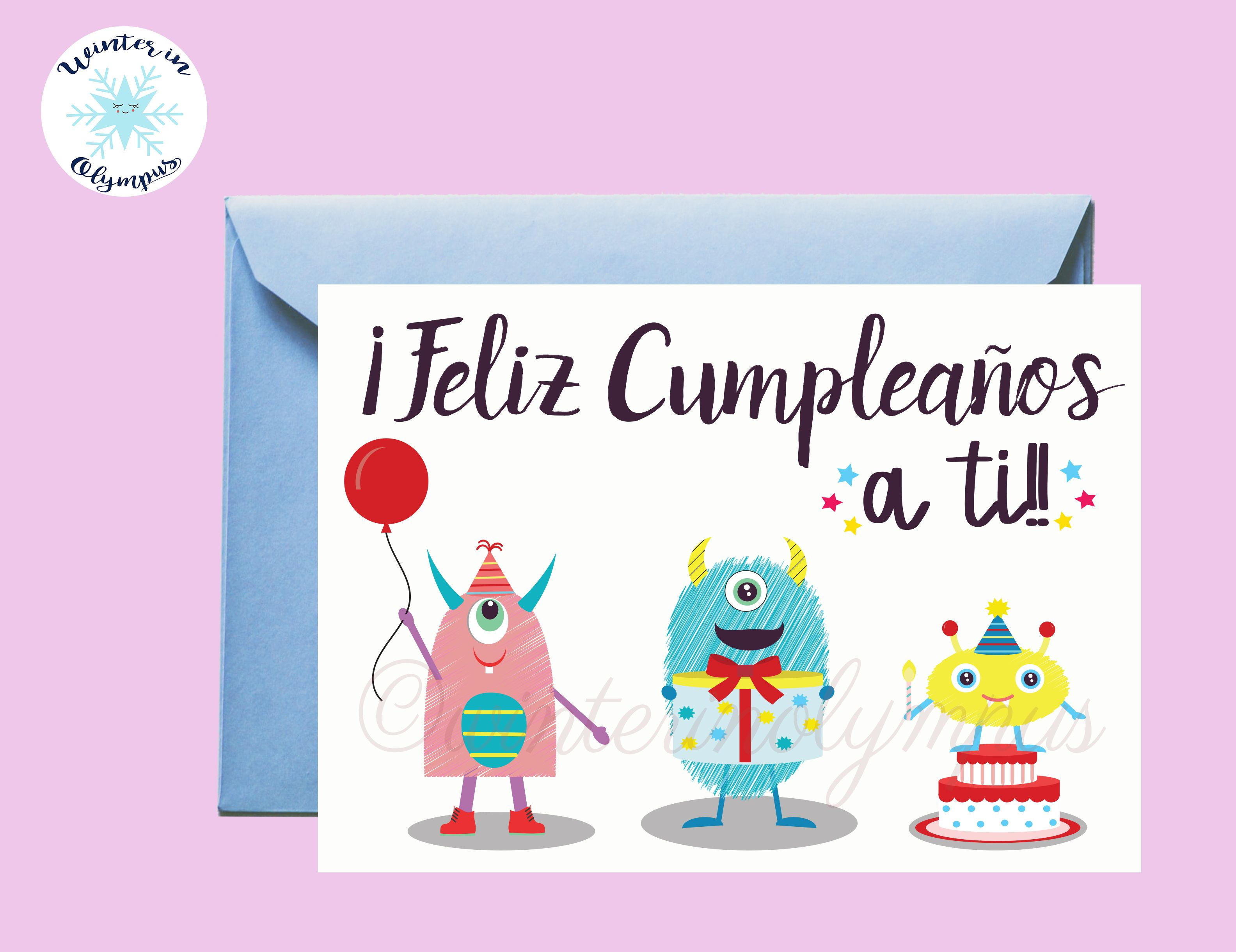 Spanish Birthday Card Printable With Monsters Digital Item Etsy Birthday Card Printable Spanish Birthday Cards Birthday Greeting Cards