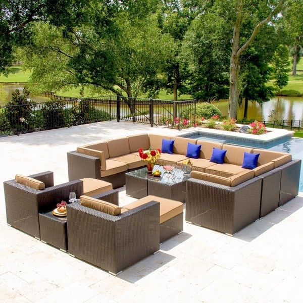 avery island 11person resin wicker patio sectional set by lakeview - Resin Wicker Patio Furniture