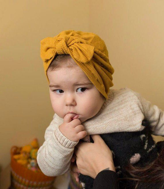 Mustard Waffle Thermal   baby turban hat with -top knot- bow 437e691a8a6