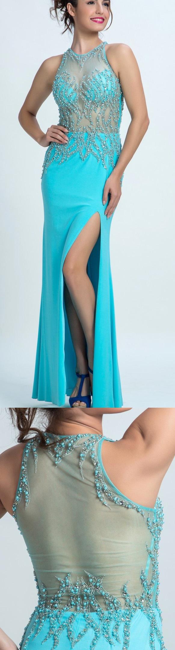Floorlength prom evening dress long light blue dresses with side