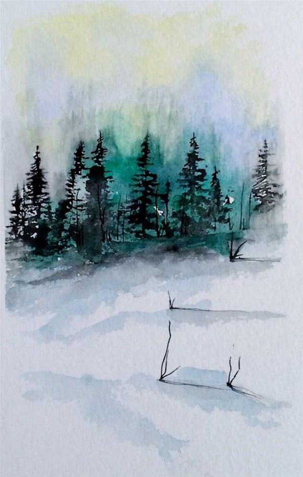 80 Simple Watercolor Painting Ideas Winter Painting