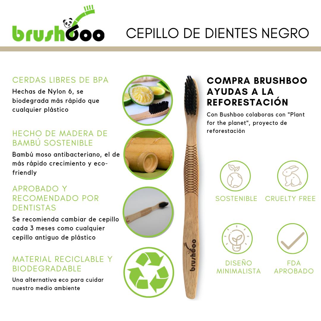 Pack Premium Brushboo El Cepillo De Dientes De Bambú Natural Y Ecológico Cepillos De Dientes Dientes Negros Bambú