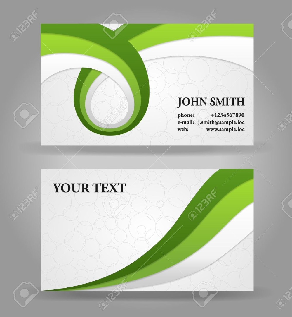 Green And Gray Modern Business Card Template With Ribbons Royalty Inside Calling Card Free Template Calling Cards Modern Business Cards Calling Card Template