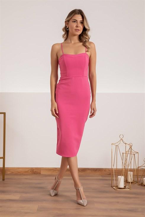 Askili Arka Yirtmac Kalem Elbise Pembe 2020 Moda Stilleri Kalem Elbise Elbise