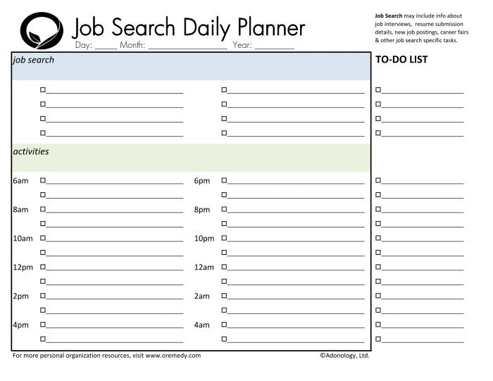 Job Search Daily Planner Printable Resume Work Pinterest Daily