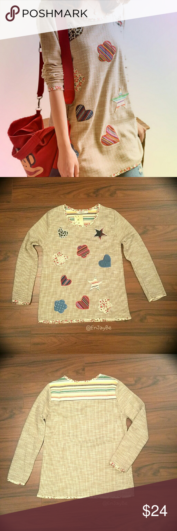"""Textured Cotton Quirky Top w/ Appliqu?s Cute, unusual top with interesting details!  Fabric looks kind of like burlap but soft to the touch inside and out.  Appliqu?s are stitched on, and complimented by floral piping around the sleeves, neckline, and hem.  Tag says """"XL"""" but has a smaller fit.  Measurements are as follows:  Bust: 37"""" Shoulder: 15"""" Hip: 40"""" Length: 25"""" Sleeve Length: 22"""" Sleeve Width: 12"""" Tops"""