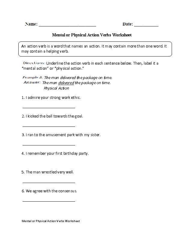 Mental or Physical Action Verbs Worksheet | Englishlinx.com Board ...