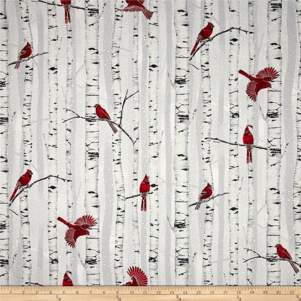 Fabric tree pattern - Curtains Or Pillows Woodsy Winter Metallic Cardinals In Trees Fog Silver From Fabricdotcom
