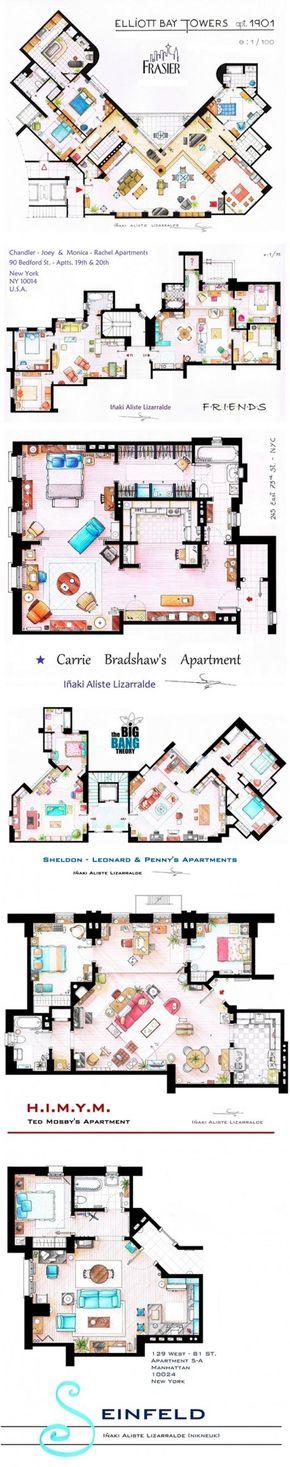 Architecture Floor Plans For TV Show Apartments Fraiser Friends
