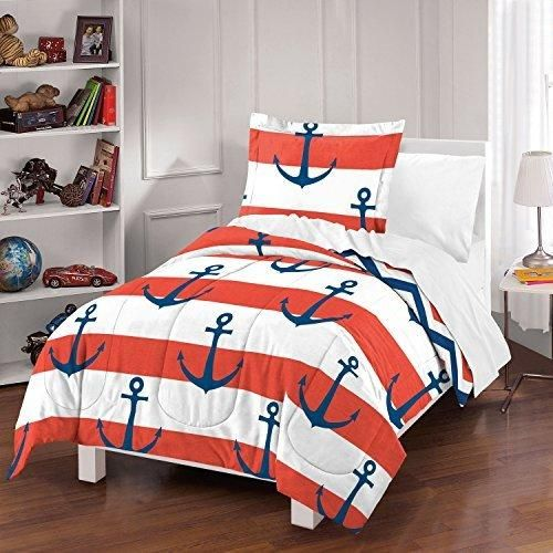 White Burnt Red Navy Blue Archors Comforter Full Queen Set