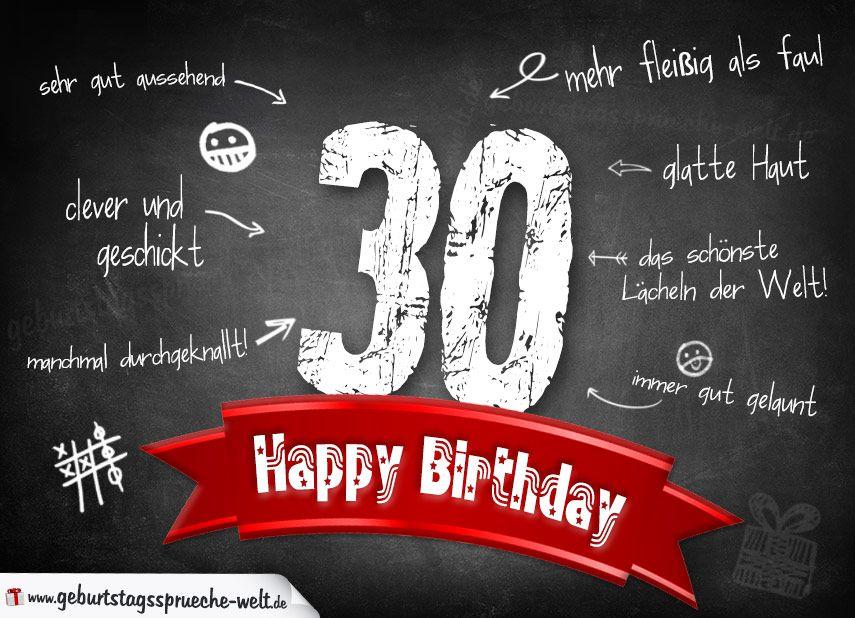 Komplimente Geburtstagskarte Zum 30 Geburtstag Happy Birthday