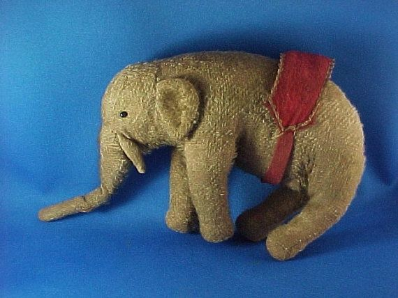 Antique Mohair Elephant Toy Straw Stuffed Pin by AmericanaAntiques