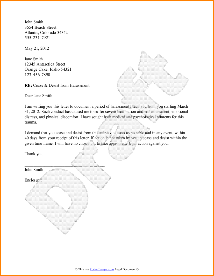 Cease And Desist Form Free Letter Sample Resume With Work