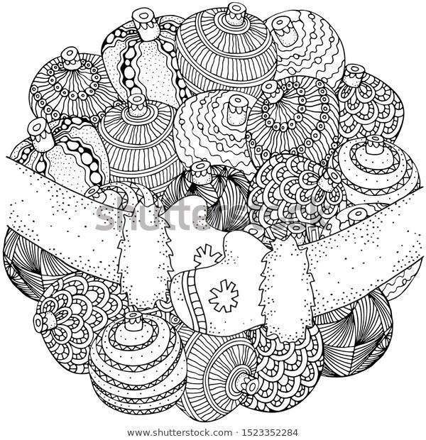 Christmas Balls Circle Pattern Coloring Book Stock Vector Royalty Free 1523352284 Coloring Books Circle Pattern Christmas Coloring Pages
