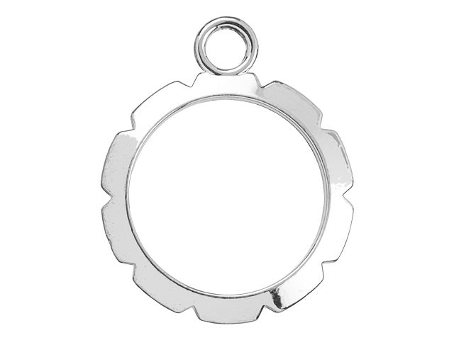 Artistic Wire 28mm Silver-Plated Brass Round Wire Wrapper Pendant (4pc)