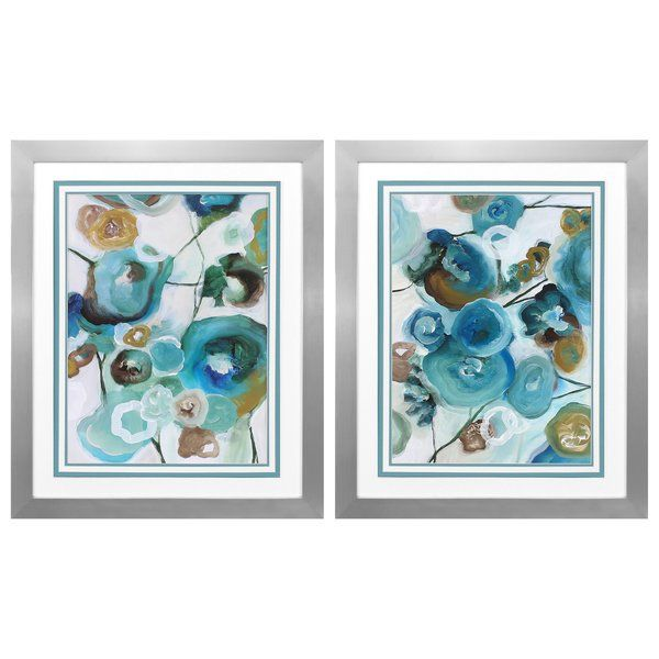 Sapphire Blooms 2 Piece Framed Painting Print Set | Dining room ...