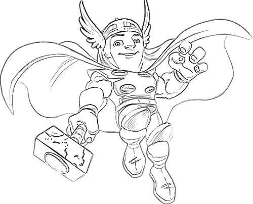 Thor - Escuadrón De Superheroes Para Colorear