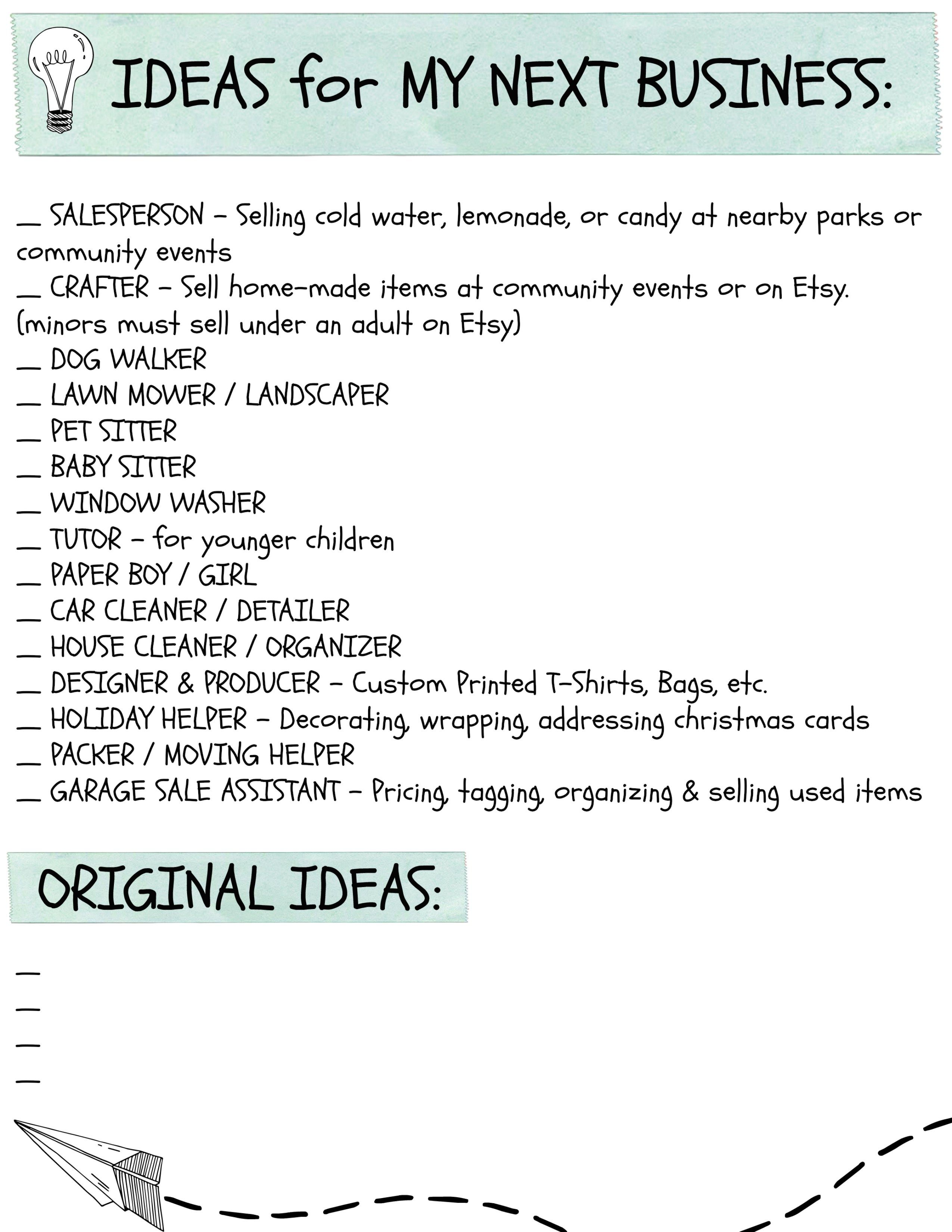 Kids Business Ideas Printable