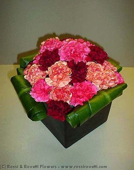 Contemporary Carnation Box Flower Arrangement Flower Arrangements Floral Flowers Floral Decor