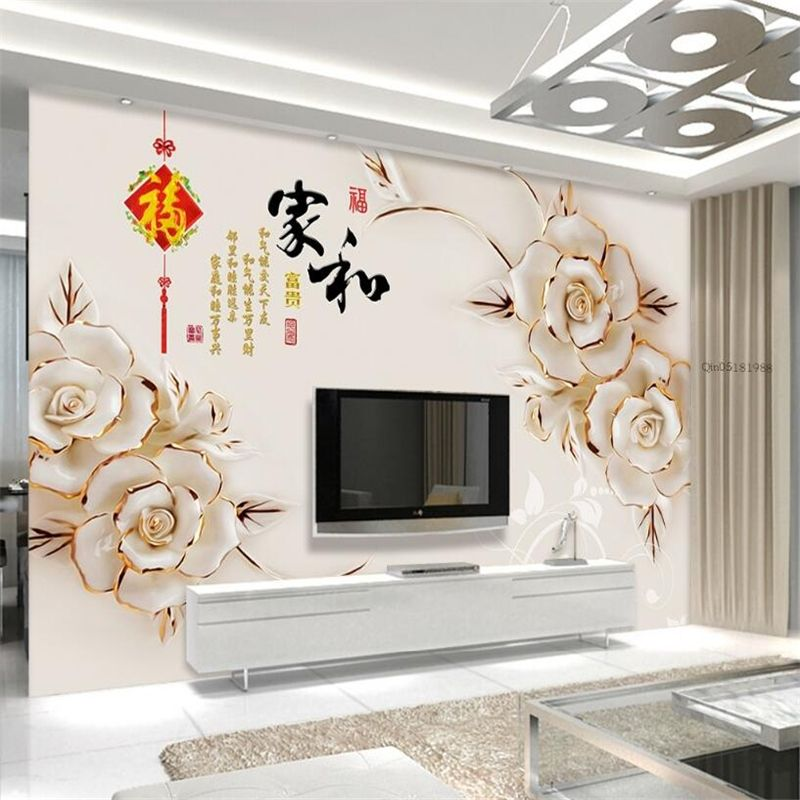 Beibehang 3d Wallpapers Hd Jade Carvings Relief House And Wealthy Living Room Bedroom Tv Background Wallpa Living Room Background 3d Living Room Wall Wallpaper