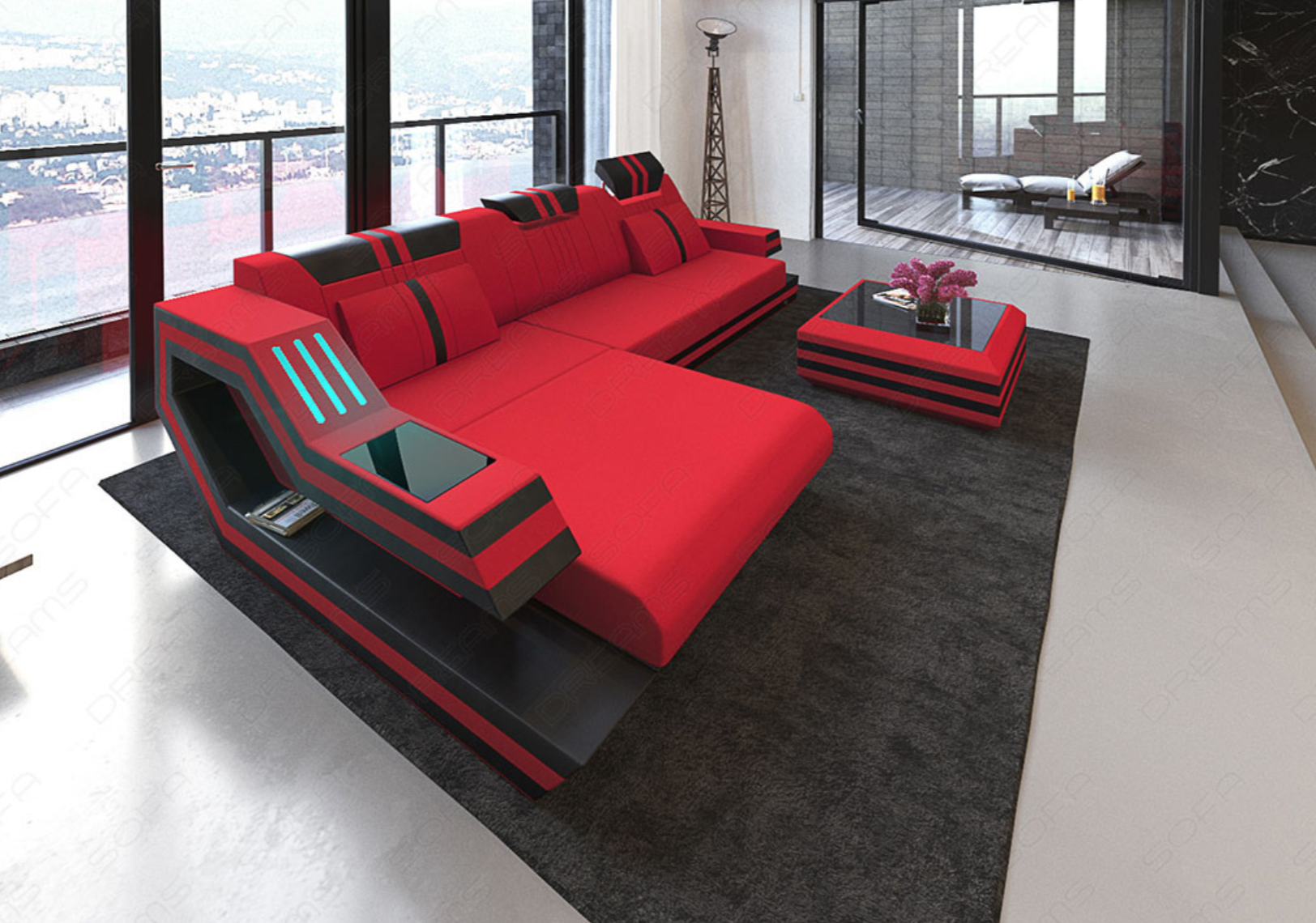 Modern Sectional Fabric Sofa Hollywood L Shape With Led And Usb