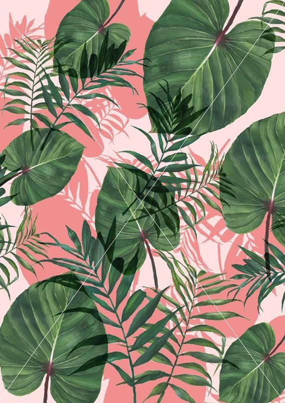 Green and pink leaf Printable Wall Art Instant Digital