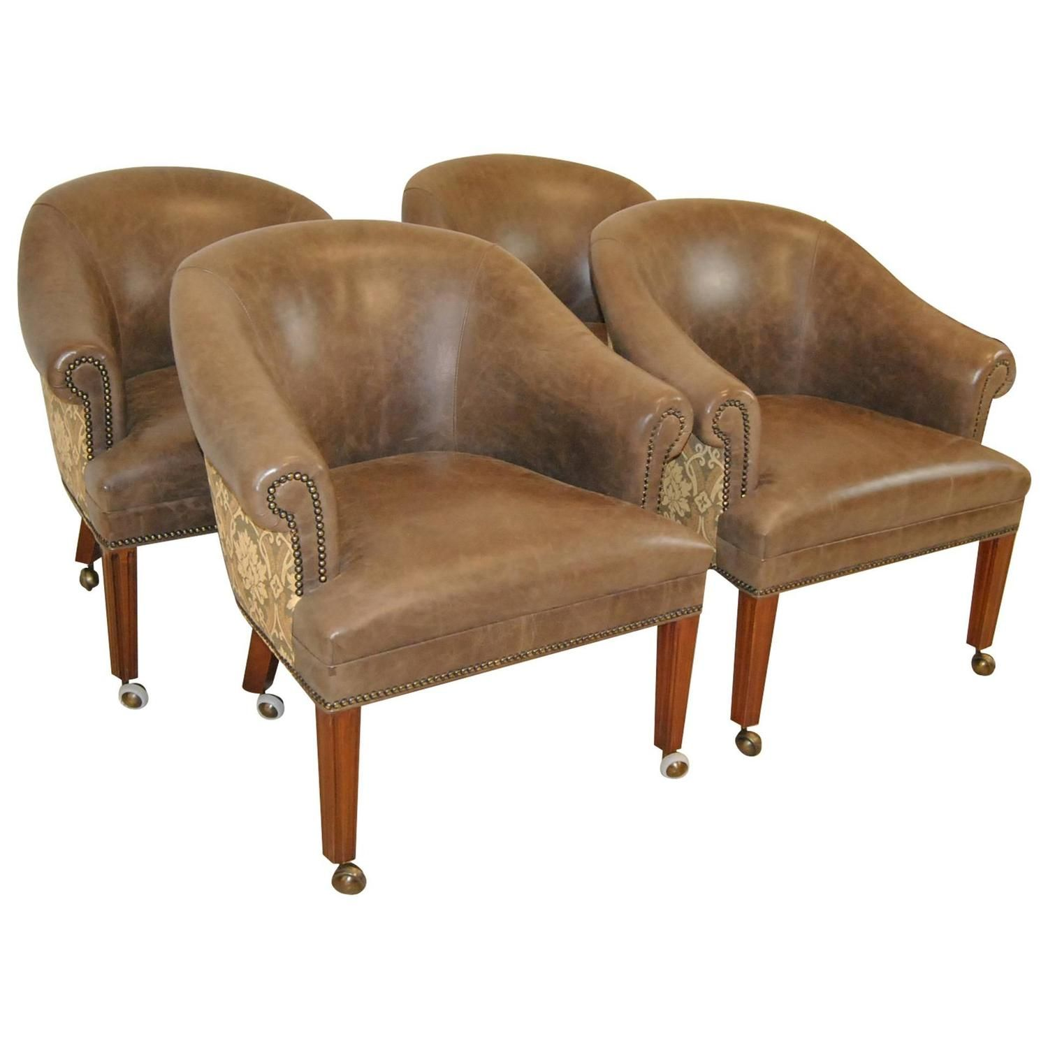 Set Of Four Leather And Tapestry Upholstered Tub Chairs By Hancock U0026 Moore