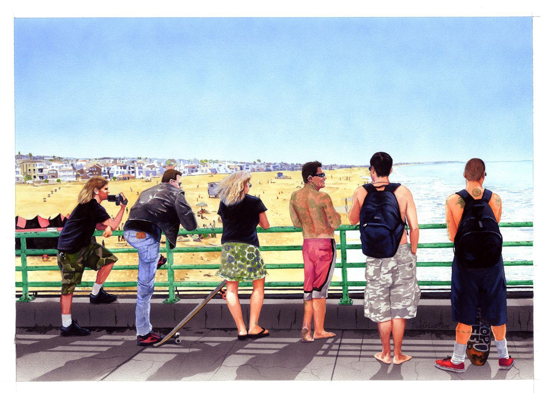 """Monday at the Pier."" Gouache, 21.25""x15"""
