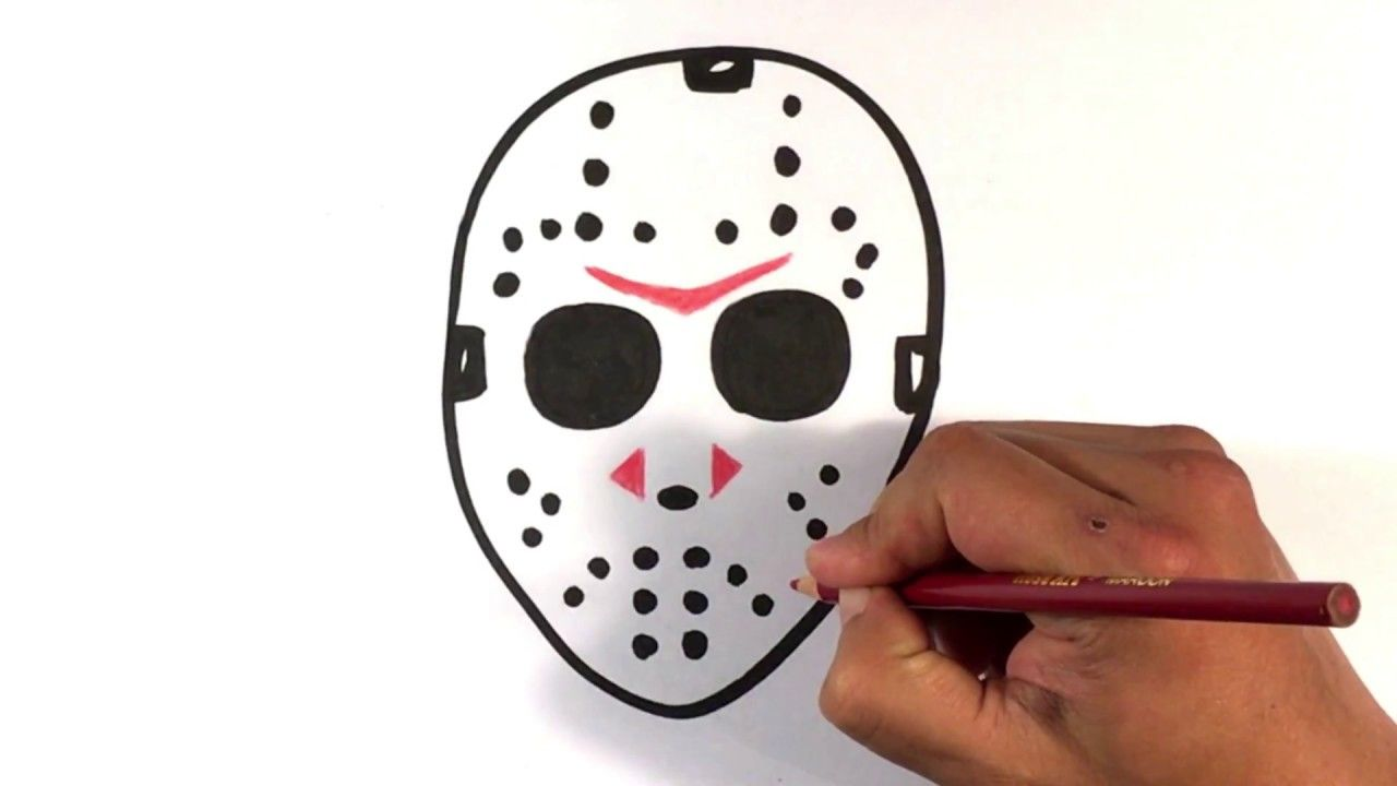 How to Draw Jason Voorhees Mask - Halloween Drawings | Jason ...