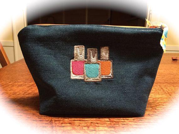 Blue jean purse / pouch / bag  / zippered by littlepeepsbysuzyd
