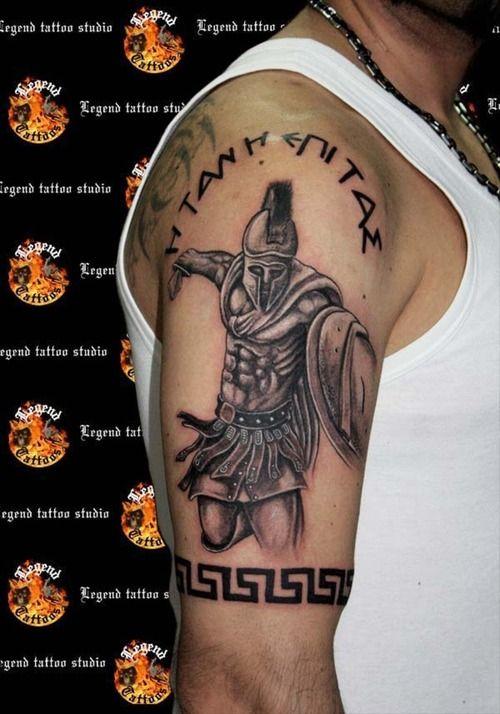d2160fa0db128 Spartan Warriors Tattoo On Man Right Half Sleeve | Armor tattoo ...