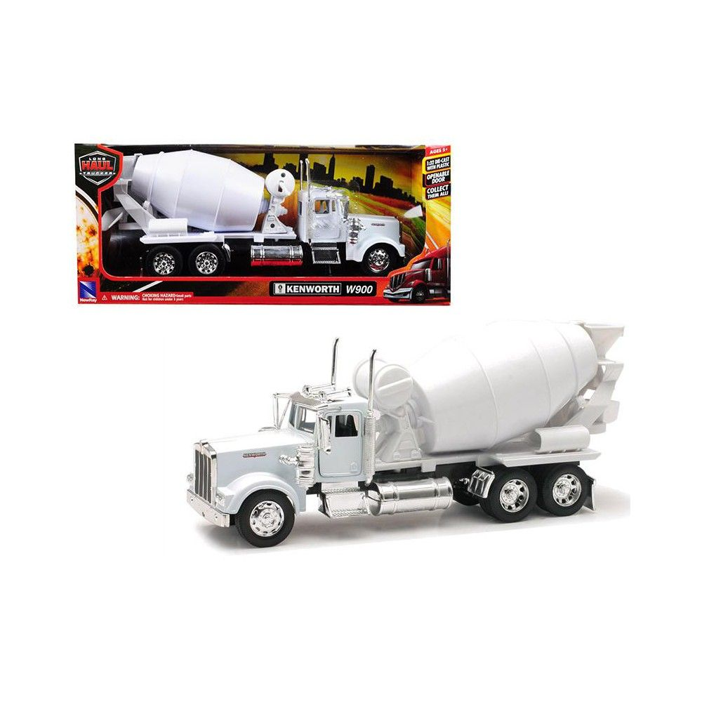 Cement Mixer Semi Truck Kenworth W900 Die-cast 1:32 by Newray 12 inch White