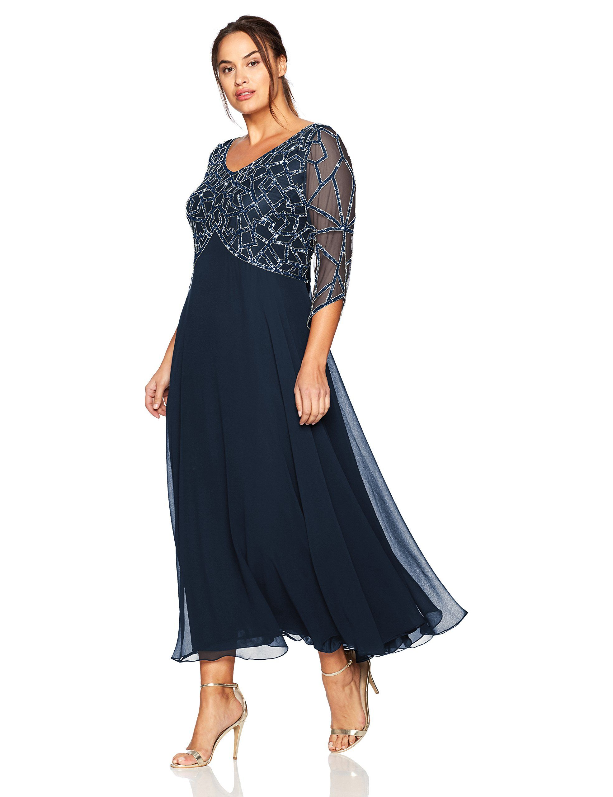 5f6330e0cd J Kara Womens Plus Size 3 4 Sleeve Geo Beaded Gown Navy Gun Silver 20W      Click image for more details. (This is an affiliate link and I receive a ...