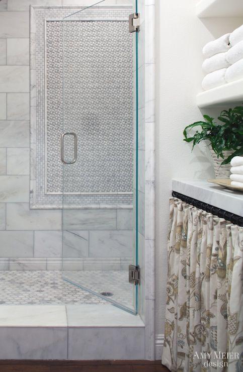 Hex Marble Shower Transitional Bathroom Amy Meier Design Master Bathroom Renovation Bathroom Remodel Plans Bathroom Design Small